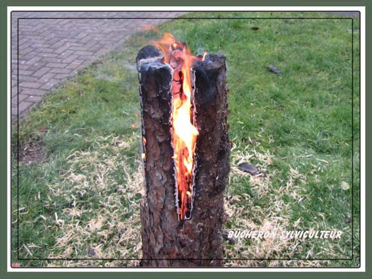 Bûche suédoise en feu